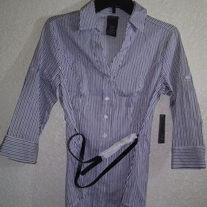 Covington, striped, petite sateen, 3/4 sleeve, SP